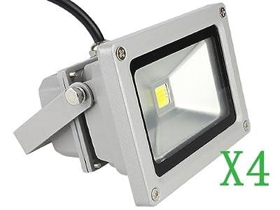 4er 10W kaltweiß--LED Lampe Flutlicht Fluter Scheinwerfer Strahler Wasserdicht IP65 für Objektbeleuchtung