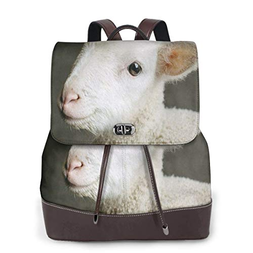 SGSKJ Rucksack Damen Nettes Baby Lamm, Leder Rucksack Damen 13 Inch Laptop Rucksack Frauen Leder Schultasche Casual Daypack Schulrucksäcke Tasche Schulranzen