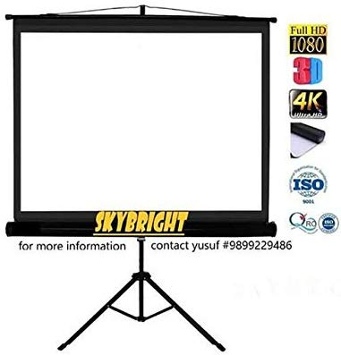 Skybright Tripod Projector Screens 84 Inch-Diagonal, 6ft.Height x 4ft.Width in 4:03 Aspect Ratio Support with HD, 3D & 4K Technology