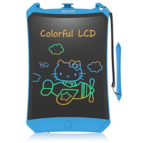NEWYES Bunte LCD Schreibtafel 8,5 Zoll hellere Schrift mit Anti-Clearance Funktion und Dicke Linien,Magnete,String,Stift Papierlos für Schreiben Malen Notizen Super als Geschenke (Blau)