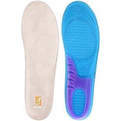 sessom & Co Gel Comfort Masaje Plantillas con soporte de arco ortopédicas absorción de golpes para caminar y correr, plantillas para los hombres y las mujeres azul UK Women's (6-9)