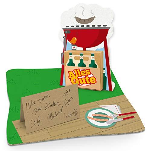 itenga Grill Geldgeschenk Gastgeschenk Verpackung Grillparty mit Bodenplatte, Geschenkkarte und - Grill Karte