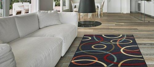 Maxy Home Hamam Collection Gummi Rückseite Oval Bereich Teppiche, Synthetisch, schwarz, 18
