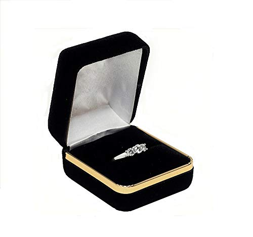 57e95130d0cd King Ice - Joyero de Regalo con Anillo de Terciopelo Negro con Borde Dorado