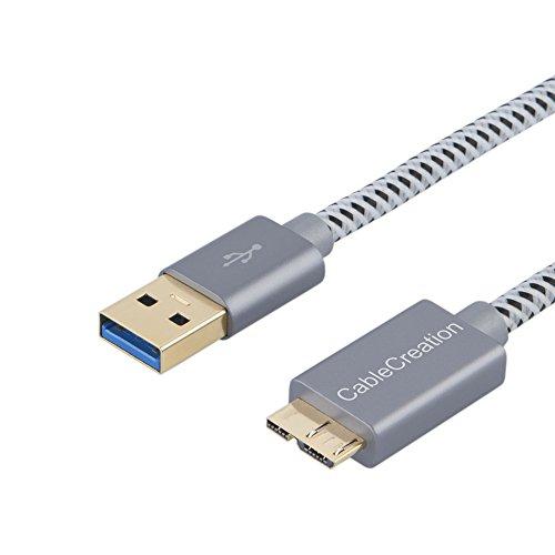 CableCreation USB 3.0 Micro Kabel, 1 FT USB 3.0 A an Micro B Kabel, für Externe Festplatte, HD-Kamera, Ladekabel kompatible mit Samsung Galaxy S5, Note 3 / N9000, 30CM, Space grau Aluminium (Externe Festplatte-kabel)
