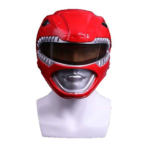 SDKHIN Dinosaurier-Helme Power Rangers Außerordentliches Team Rote Krieger-Maske Halloween-Maske Cosplay Maskerade-Helm Prop,Red-OneSize