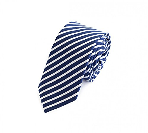 Fabio Farini Seidenweiche Krawatte 6 cm in verschiedenen Farben, Blau-Weiß gestreift