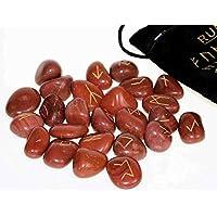 Runen Set mit gravierten Edelsteinen im Samtbeutel - roter Jaspis preisvergleich bei billige-tabletten.eu