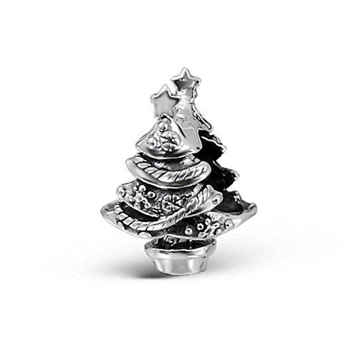 Silvadore-Ciondolo in argento albero di Natale decorato Star Supporto, Xmas Modern-925Sterling Ciondolo 387scorrevole in 3d, adatto per bracciale Pandora europeo, in confezione regalo
