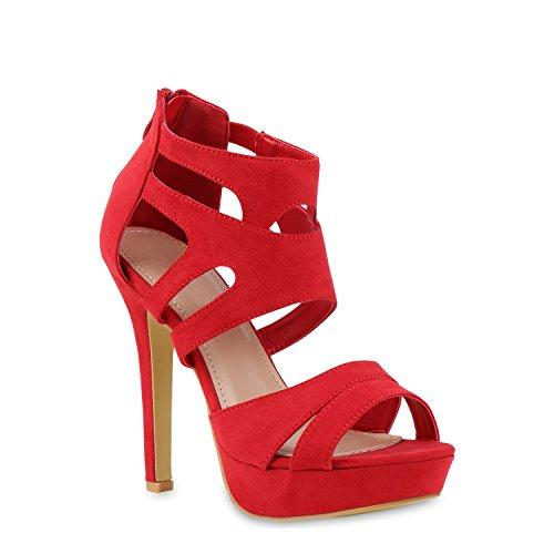 Damen Sandaletten Plateau Sandaletten Strass Stiletto Cut-Outs Party High Heels Lack Party Leder-Optik Schuhe 121437 Rot 41 Flandell