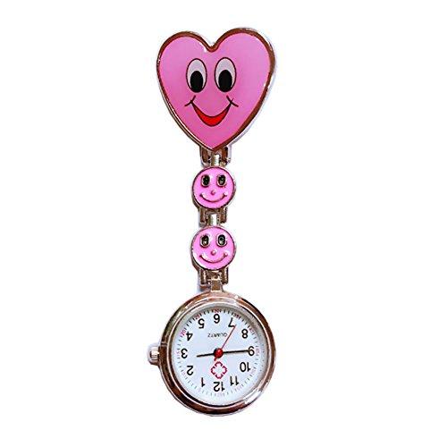 Grifri Rosa Herz Quarz Bewegung Clip Krankenschwester Brosche FOB Tunika Uhr Smiley