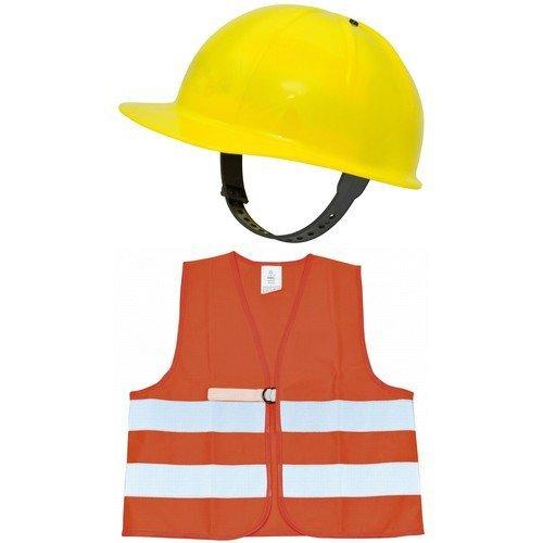 Eduplay 800077 - Bauhelm und Warnweste für Kinder im - Mann Bauarbeiter Kostüm