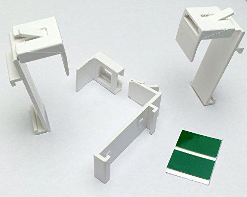 KLEMMFLEX Klemmträger für DUO-Rollo, Rollo ~ OHNE BOHREN ~ je 2 Stück ~ inkl. Klebepads ~ verstellbar ~ für Fenster Rahmenstärke von 1,5 cm bis 2 cm ~ Farbe: weiss