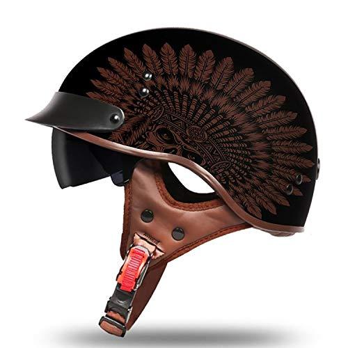 Casco Harley Scozzese retrò, Occhiali da Sole con Protezione Solare e Occhiali da Sole Invisibili per Uomo e Donna (M, L, XL, XXL),A,XL