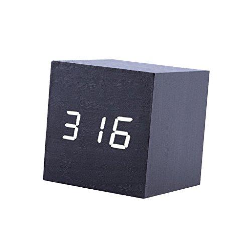 Fenteer Digital LED Würfelwecker Alarmwecker Wooden Holz Kalender Thermometer Uhr Clock - Schwarz + Weiss