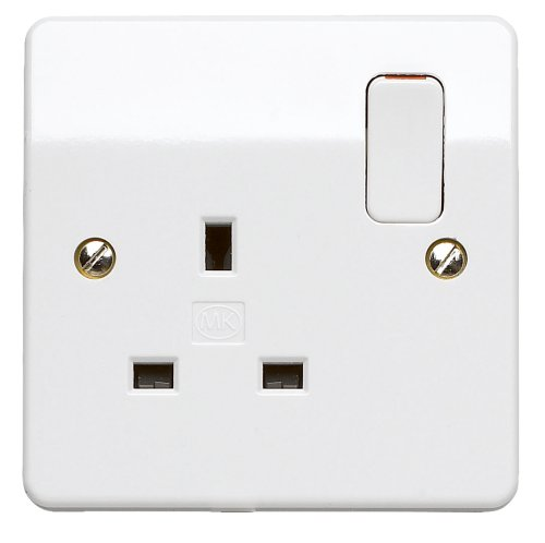 Single Plug Socket Standard White MK 13A 1 Gang Dual Pole Switch Socket Outlet -