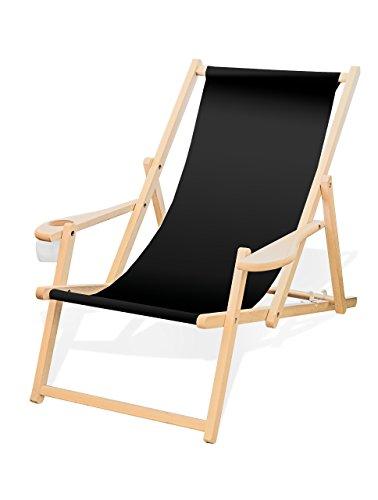 Holz-Liegestuhl mit Armlehne und Getränkehalter, Klappbar, Wechselbezug (Schwarz)