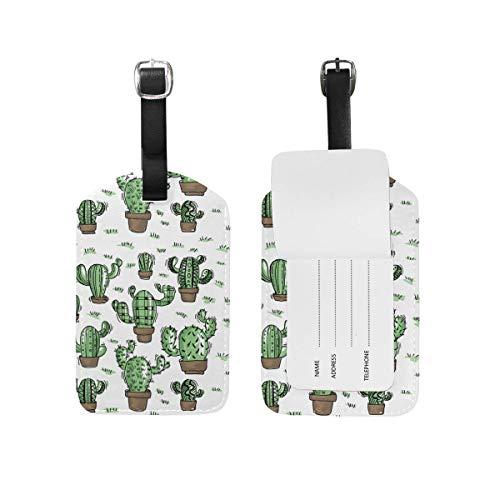 Süße Kaktus Sukkulenten Gepäckanhänger PU Leder Tasche Koffer Gepäck Label 2 Stück Set -