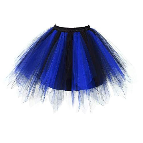 Honeystore Damen's Neuheiten Tutu Unterkleid Rock Ballet Petticoat Abschlussball Tanz Party Tutu Rock Abend Gelegenheit Zubehör Rötlich-Blau und Schwarz