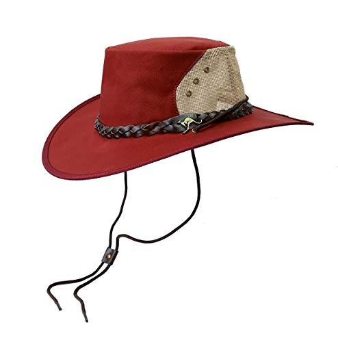 Kakadu Traders Leichter Canvas Hut Backpacker Breeze in rot | aus Baumwolle mit Netz-Block | Hutfangband Gebogene Krempe | Herren Damen Größe M (Hut Kakadu-canvas)