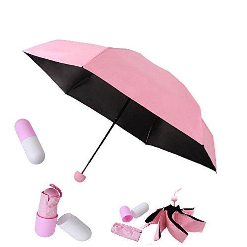 HENGSONG Protection Anti-UV Mini Voyage Parapluie Compact Pliant Pluie Parasol Double Usage Taud Sac Parapluie Pour Homme et Femme (Rose)