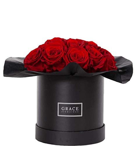 Hohl Rose (GRACE Flowerbox RED Bouquet | 16 echte Rosen | 1-3 Jahre haltbare Infinity Rosen | Bekannt aus Die Höhle der Löwen)