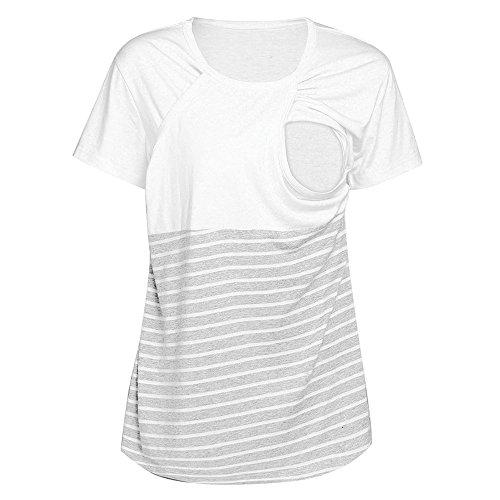 FRAUIT Maglietta Allattamento Doppio Strato Donna Incinta A Gestante A maternità Camicia da Notte con Maniche Corte per Estate Inverno T Shirt