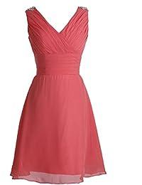 Fashion Plaza Zierliche Süße Chiffon V-Ausschnitt Mini Abendkleider Brautjunfer Kleider mit Rüschen und Straßstein D0323