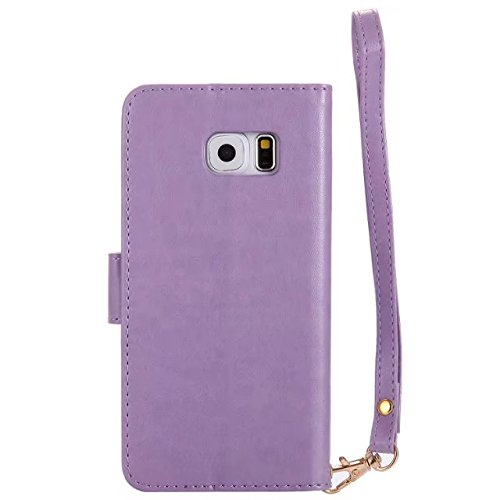 Horrizontal Folio Stand PU Ledertasche, Geldbörse Geldbörse Abdeckung Fall mit Lumious Shining Effekt & Lanyard für Samsung Galaxy S6 ( Color : Rose-gold ) Purple