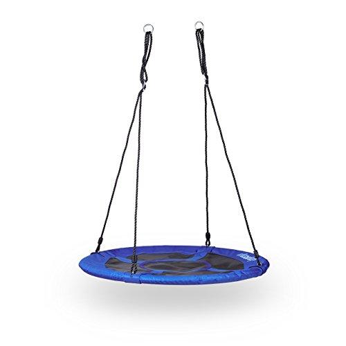 Relaxdays Nestschaukel rund, geschlossener Sitz, bis 100kg, Outdoor, HBT: 145 x 100 x 100 cm, dunkelblau