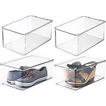 mDesign organizador de zapatos - Organizador plástico apilable con tapa en color transparente - Set de