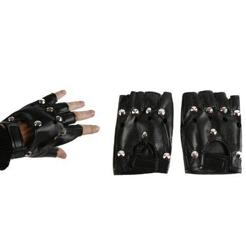 Handschuhe mit Nieten, ohne Finger - schwarz (Biker Handschuhe Kostüm)