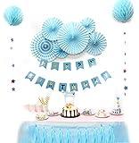 SUNBEAUTY Decoration Anniversaire Garcon Happy Birthday Bleu avec Rosace Papier Banderole et Gland de Soie Kit Anniversaire Garçon