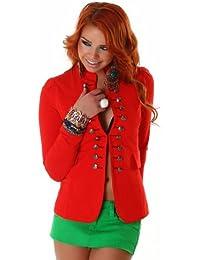 Young-Fashion - Chaqueta de traje - Básico - Manga Larga - para mujer rojo 34