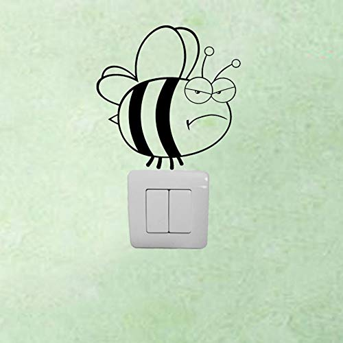 os Abnehmbare Vinyl Wütend Honey Bee Switch Aufkleber Animal Home Decor Wandtattoo, Schwarz ()