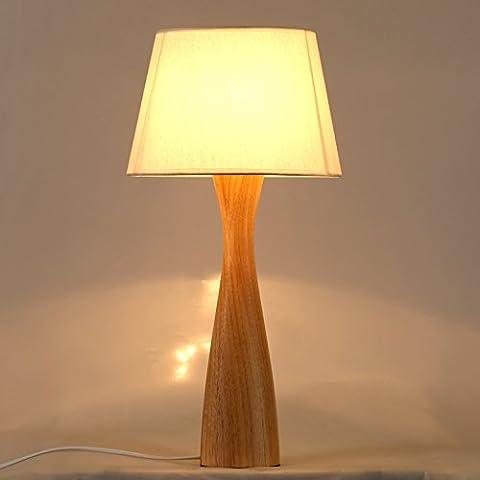Lampe de bureau en bois massif-XCH Dazzling DL- Commutateur à bouton-poussoir pratique Base en bois massif en caoutchouc Chambre à coucher créative simple Lampe de chevet 110-240 Volt Taille de tension haute 21,2 pouces