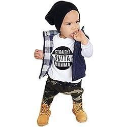 Ropa Bebé, Amlaiworld Recién Nacido bebé niños Carta de impresión Tops + Camuflaje Pantalones Conjunto Ropa 0-24 Mes (Tamaño:0-6Mes, Nergo)