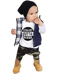 Ropa Bebé , Amlaiworld Recién nacido bebé niños Carta de impresión Tops + Camuflaje Pantalones Conjunto Ropa 0-24 Mes