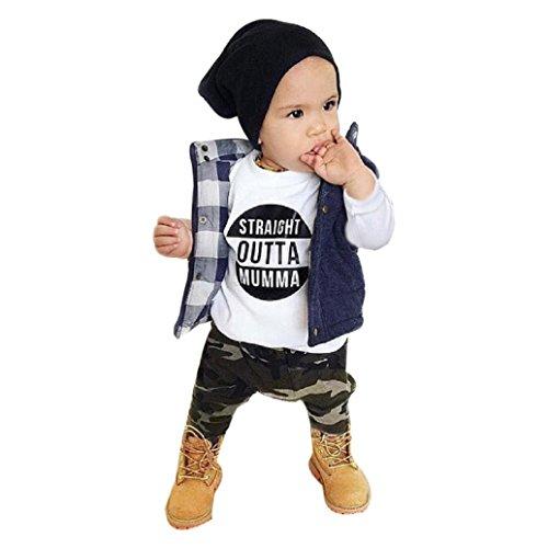 Ropa Bebé , Amlaiworld Recién nacido bebé niños Carta de impresión Tops + Camuflaje Pantalones Conjunto Ropa 0-24 Mes (Tamaño:12-18Mes, Nergo)