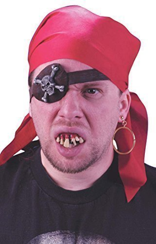 g Piraten-Augenklappe Zähne Bandana Kostüm Kostüm-Zubehör (Piraten Ohrring Und Augenklappe Set)