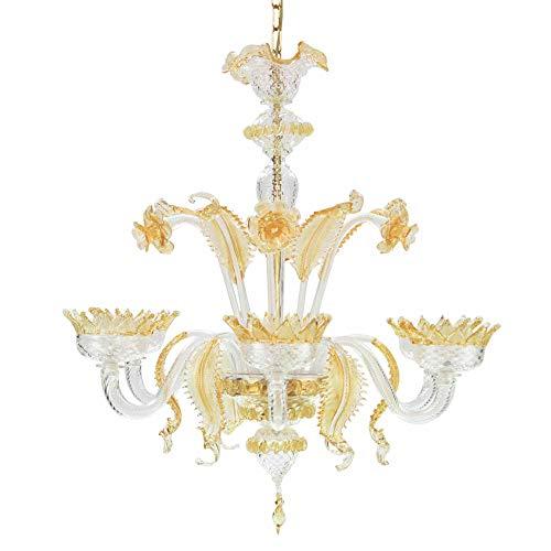 Kronleuchter 6-flammig 80x 80cm Kristall und Bernstein Murano-Glas 100% handmade -
