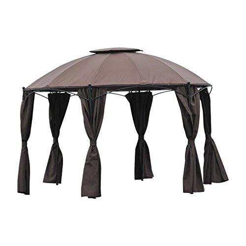 Outsunny tendone gazebo esagonale da giardino con doppio tetto in metallo e poliestere, caffè, Φ365cm