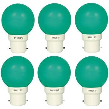 Philips Deco Mini Base B22 0.5-Watt LED Bulb (Pack of 6, Green)