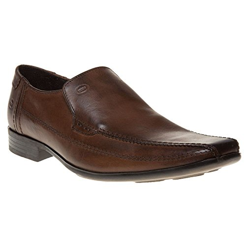 Base London Ange hommes Cuir Slip On Chaussures - Brown