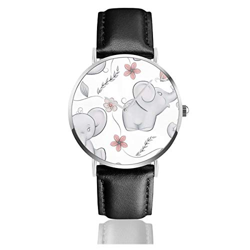 Business Analog Watches,Cute Little Elephants In Bigger in Classic Stainless Steel Quartz Waterproof Wrist Watch with Leather Strap