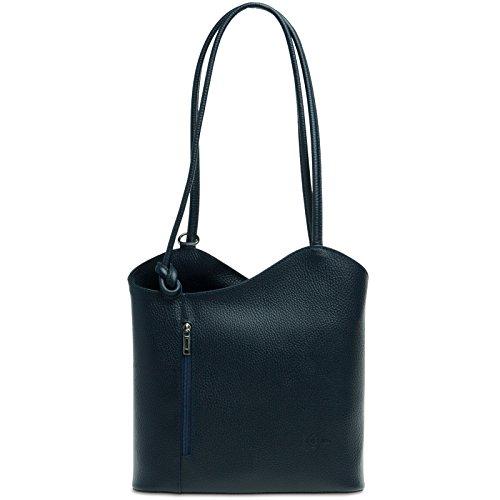 CASPAR TL720 2in1 Rucksack Handtasche Daypack aus echtem Leder , Farbe:dunkelblau;Größe:One Size