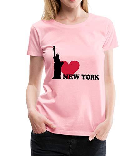 Spreadshirt I Love New York NY Freiheitsstatue Frauen Premium T-Shirt, 3XL (46), Pink