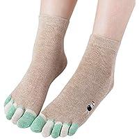 LHWY Las mujeres imprimen los calcetines multicolores del dedo del pie del gato calcetines de cinco dedos más cálidos calcetines divertidos de algodón