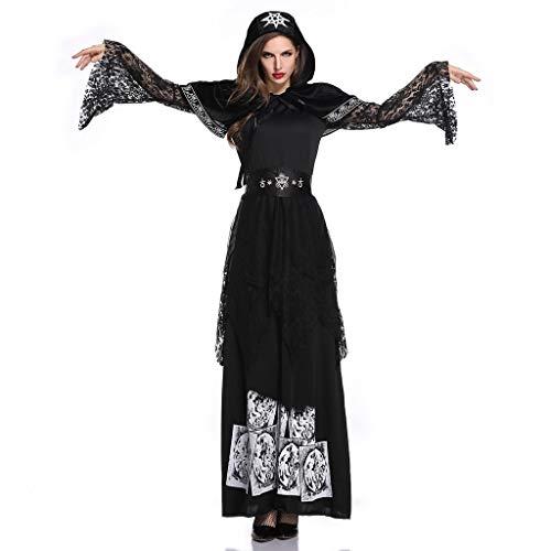 Allence Halloween Damen Kleid, Frauen kostüme schnüren Sich Oben mit Kapuze Vintage Pullover high Low Bandage langes Kleid Mantel Bekleidung - Asiatische Weiße Paare Kostüm