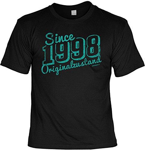 Shirt / Jahrgangs-Geburtstags-Shirt mit lustigem Spruch: Since 1998 Originalzustand geniales Geschenk Schwarz